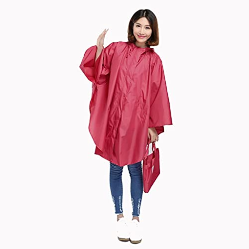 MMJS Impermeable Gran Impermeable Poncho Bicicleta Batería Impermeable Mujeres Adulto Impermeable Al Aire Libre Rojo