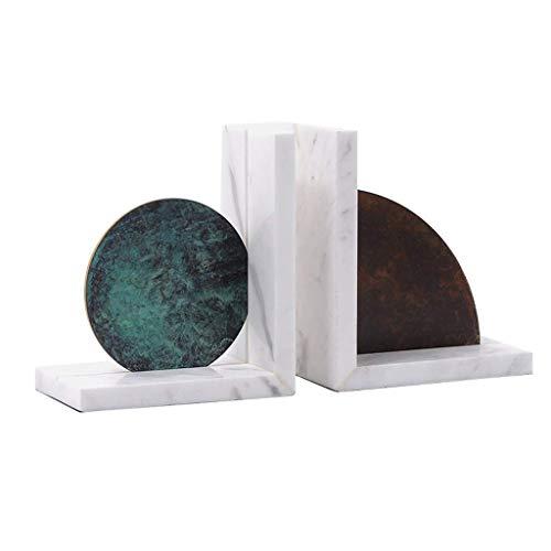 SBDLXY Sujetalibros de Arte Decoración de Archivos de Libros Modelo Habitación Decoración Suave Estudio nórdico en el hogar Estantería de Metal de mármol Soporte para Libros Sujetalibros expandible