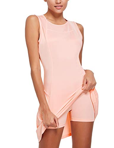 BALEAF Women's 2 in 1 Tennis Dress Sleeveless UPF 50+ Golf Casual Sports Running Workout Dress Outfits with Shorts Pockets Salmon Pink Size M