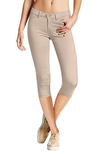 Hybrid & Company Women's Hyper Stretch Denim Capri Jeans Q44876 Stone XLarge