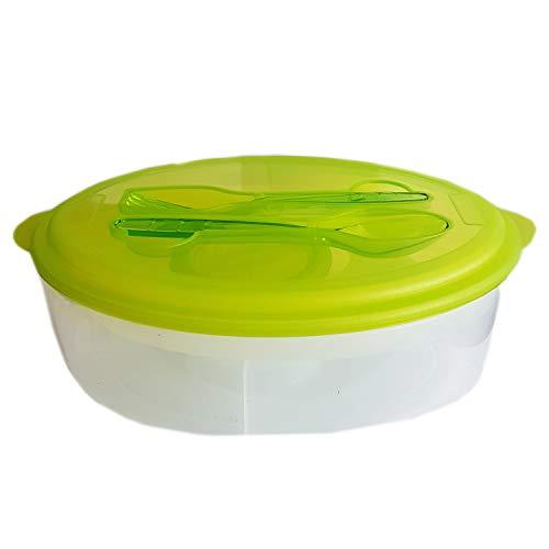 your castle Lunch Box - Bento Box Box per merenda Lunchbox con mattonella del Ghiaccio e Posate, Verde, 24,5 x 16,5 x 8 cm