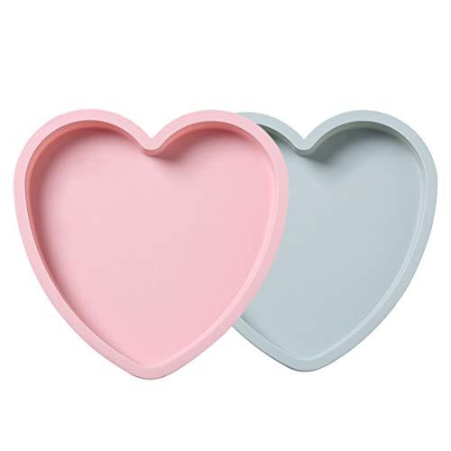 Hemoton 2 moldes de silicona con forma de corazón de 20,3 cm para hornear tartas con forma de corazón para chocolate, pudin, jabón, dulces, postres, herramientas de horneado para la cocina en casa