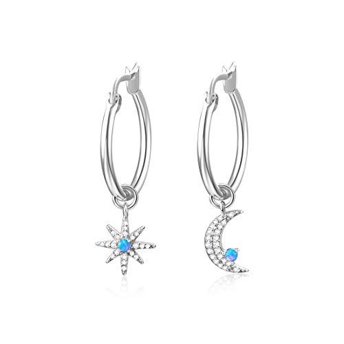 Huggie Creolen mit Mond/Stern Charms, rhodiniert mit Zirkonia & Opal Ohrhänger, Schmuck Geschenk für Frauen (silberner Mondstern)