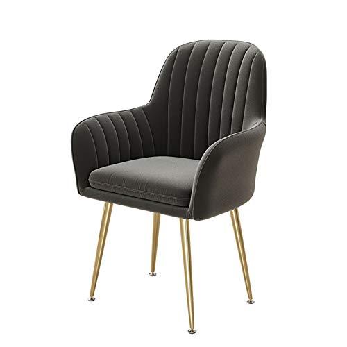 ADGEAAB Sillas de comedor, asiento suave y respaldo de terciopelo, patas de metal robustas para cocina, comedor, sala de estar, dormitorio (color: gris oscuro)