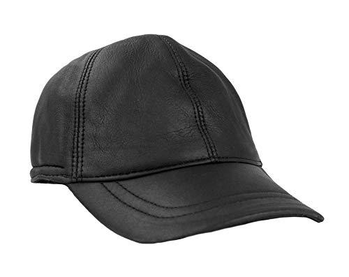Zerimar Herren Leder Mütze (innen Fell von außen Leder) Leder baskenmütze mit Ohrenklappen Farbe schwarz Größe L