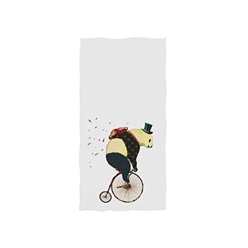 Panda de dibujos animados en sombrero y mochila montar bicicleta en blanco suave toalla de baño absorbente toallas de mano multiusos para baño, hotel, gimnasio y spa, 30 x 15 pulgadas