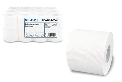 Hypafol Toilettenpapier, 3-lagig | Vorratspack mit 24 Rollen à 250 Blatt | extra weich und reißfest | aus hochwertigem weißem Zellstoff