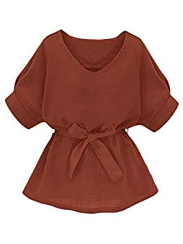 Milumia Women s Casual V Neckline Self Tie Short Sleeve Work Blouse Tunic Tops Rust X-Large