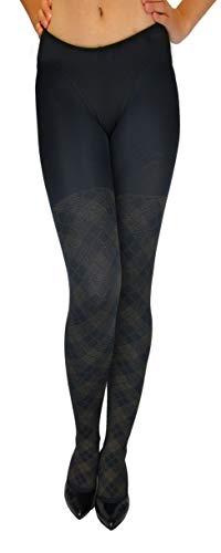 Marilyn - Collant eleganti con motivo a rombi e lurex, 60 denari Schwarz (Black & Gold) 36/38 (S/M)