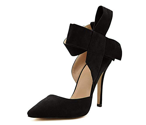 Z&L Fashion Women's Pointy Toe High Heel Stiletto Big Bow Pumps Black Size 8