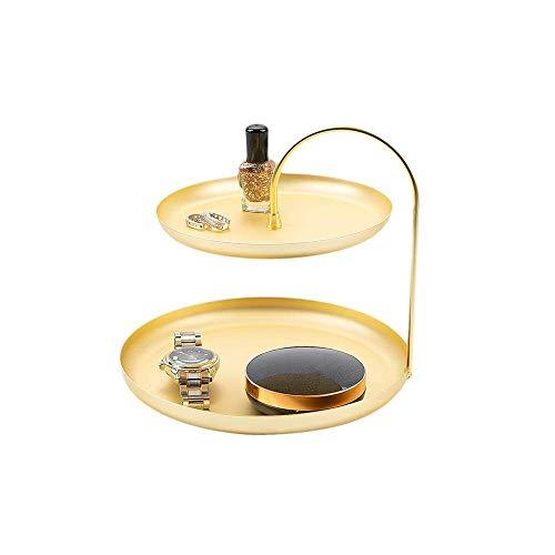 LARRY SHELL 2 Tier Schmuckablage, Gold Metal Jewelry Tower Stand, Schmuck Organizer Display Rack-Armband Halskette Ringablage, Messing matt