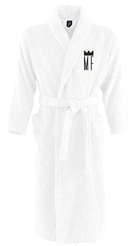 Monogrammliebe Bademantel aus 100% Baumwolle • Zwei aufgesetzte Seitentaschen • Passender Gürtel (Judith L/XL Weiss)