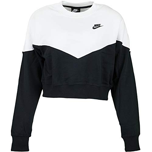 Nike Heritage Fleece Women Sweater Sweatshirt (XS, Black/White)