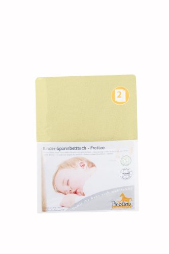 Pinolino Drap-Housse pour Lit de Bébé Tissu Eponge - Pack de 2 - Jaune
