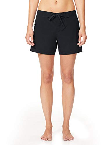 "BALEAF Women's 5"" Board Short with Built-in Liner (Extended Back Elastic Waistband) Black S"
