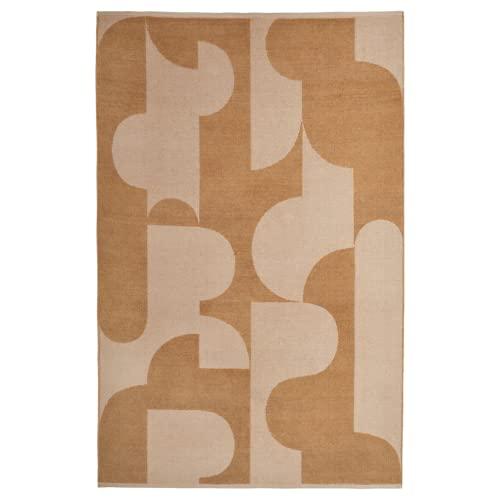 Alfombra plana tejida 133 x 195 cm marrón claro/marrón beige de pelo corto Jacquard y felpilla, 100% algodón reciclado, apta para calefacción por suelo radiante, IKEA Rödask