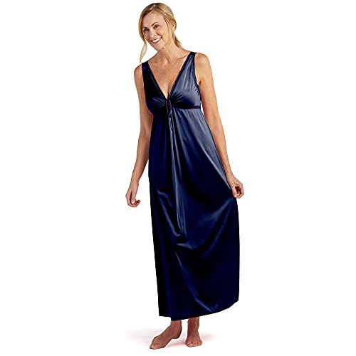 Miss Elaine Nightgown - Women's Silky Fitted Long Gown, Vintage Style, with a Deep V-Neckline (3X, Navy)