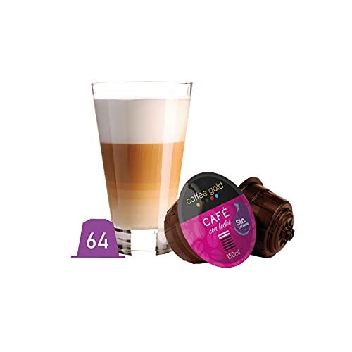 Coffee Gold - 64 Cápsulas de café compatibles con Dolce Gusto®* - - (Café con Leche sin Lactosa)