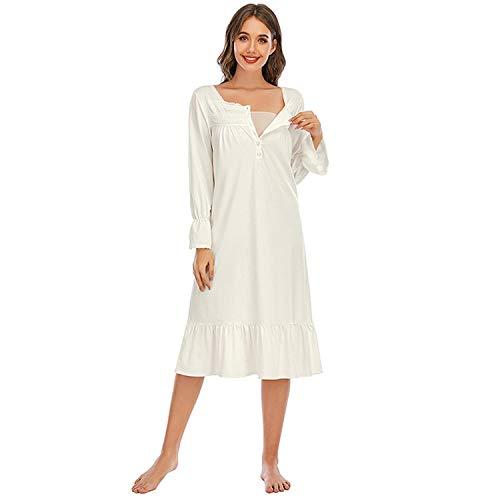 Gaga city Umstandsmode Nachthemd mit Stillfunktion Retro Altmodisches Nachthemd Mutterschaft Stillen Weißes Nachtkleid Schwangerschaft Nachtwäsche für Frauen