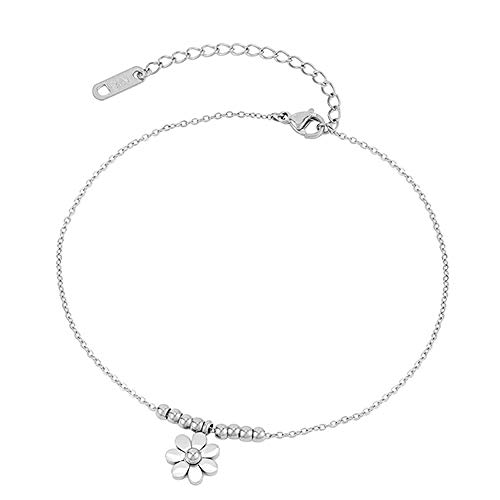 U/N Sunflower Beaded Anklet Bracelet Golden Stainless Steel Leg Chain Women Foot Jewelry Girl Chain-2