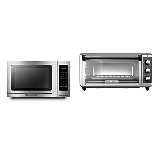 BLACK+DECKER Microwave Oven,1000W,1.4 cu.ft,Stainless Steel & TO3250XSB 8-Slice Extra Wide Convection Countertop Toaster Oven, Includes Bake Pan, Broil Rack & Toasting Rack, Stainless Steel/Black