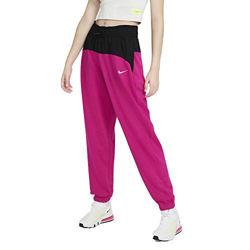 NIKE W NSW ICN CLSH Jogger Mix HR Pantalones de compresión, Fireberry/Black/(White), L para Mujer