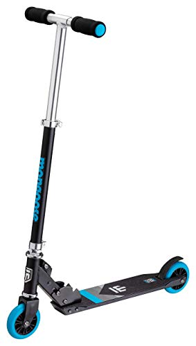 Mongoose Trace Youth/Adult Kick Scooter Folding and Non-Folding Design, Regular, Lighted, and Air Filled Wheels, Multiple Colors, Black/Blue, 100mm Wheels