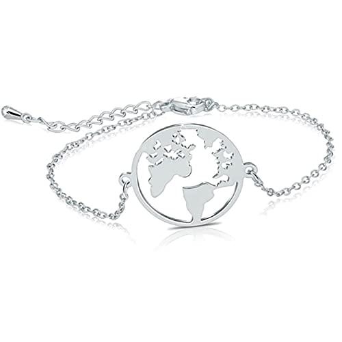 salefun Pulsera de mujer de acero inoxidable con bola del mundo y medalla redonda de plata con...