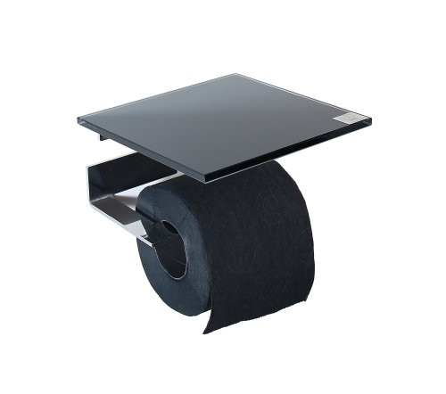 WC Rollenhalter/Toilettenpapierhalter mit Abstellfläche/Ablage aus schwarzem Glas - Made in Germany -