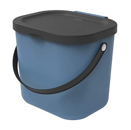 Rotho Albula Poubelle Bio 6L avec Couvercle et Poignée pour la Cuisine, Plastique (PP) sans BPA, Bleu/Anthracite, 6L (23,5 x 20,0 x 20,8 cm)