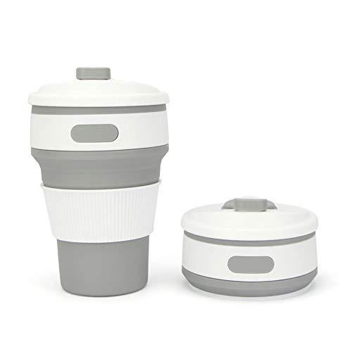 Weimay - Taza de café Plegable, 350 ml, 8,7 x 8,7 x 5,8 cm, 8,7 x 5,5 x 14 cm, Color Gris