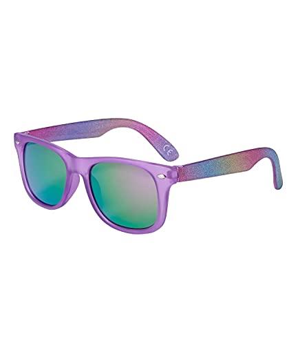 SIX Sonnenbrille für Kinder mit Glitzer-Rahmen und Nieten-Details, Linsen-Kategorie 3, UV400-Filter, verspiegelt (630-007)