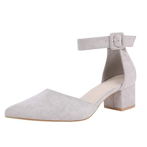 Damen Blockabsatz Mary Janes Schuhe Knöchelriemchen Wies Wildleder Pumps Mid Heel Geschlossener Zeh Sommerschuhe, Grau, 40 EU