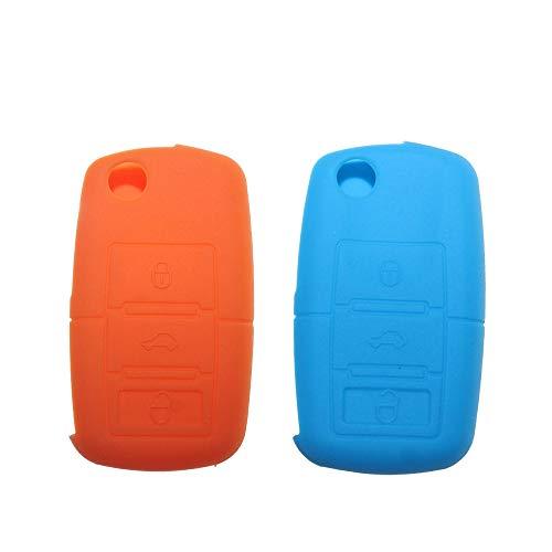 Tuqiang Coque clé de voiture pour VW Golf Passat Jetta Polo Tiguan Flip pliable en silicone 3 boutons Lot de 2 (Bleu clair, Orange)
