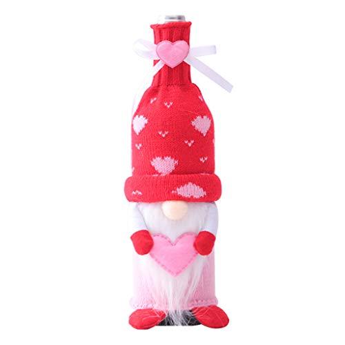 jumpXL Lindo gnomo del día de San Valentín muñeca de felpa de la botella de vino tinto cubierta de la decoración de la muñeca de amor elfo ornamentos escandinavos suecos Tomte Nisse Sweet
