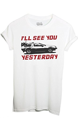 MUSH T-Shirt Back TO The Future Ritorno al Futuro Delorean-Film by Dress Your Style - Uomo-M-Bianca