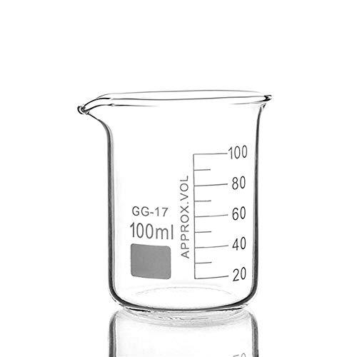SHENYF Becherglas 10Pcs 100 ml Glasbecher in Low-Formular for Chemie Labormaßstab Labormess verdickte Supplies Education Office (Capacity : 100ml)