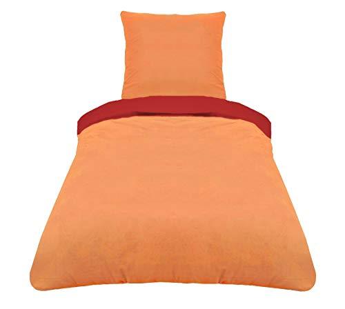 ZOLLNER 2-TLG. Bettwäsche, Mikrofaser, 80x80 cm + 140x200 cm, rot orange