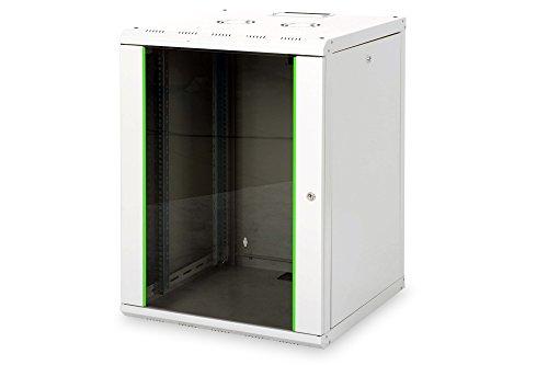 DIGITUS Netzwerk-Schrank 19 zoll 16 HE - Wandmontage - 600 mm Tiefe - Traglast 100 kg - Unique Serie - Glastür - Grau