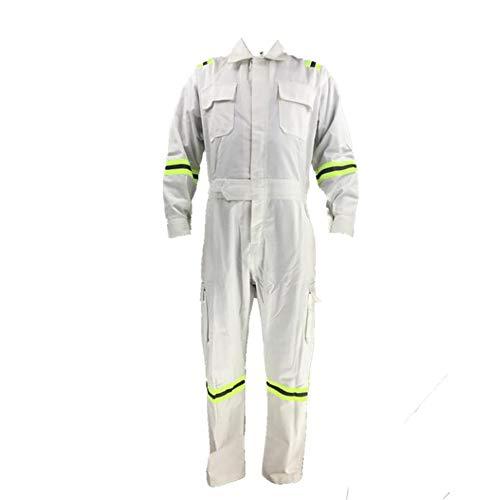 SHYPwM Reflectante blanca de algodón ropa reflectante engrosamiento de una sola pieza de la reparación de Trajes eléctrico Soldador reparación de vapor primavera Crew Hombres astillero de ropa / (blan