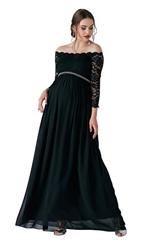 M.M.C. Diamond Umstandskleid mit Spitze und Strasssteinen – Bustierkleid Schwangerschaft Schwangerschaftskleid Abendkleid Cocktailkleid Hochzeit Standesamt (Schwarz, 40)