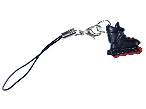 Miniblings Inlineskates Rollschuhe Handyanhänger Handyschmuck schwarz rot- Handmade Modeschmuck I Anhänger Handyschmuck Schlüsselanhänger