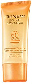 PROTETOR SOLAR FACIAL COM COR ANTI-IDADE RENEW SOLAR ADVANCE ULTRA MATTE FPS 50 50G