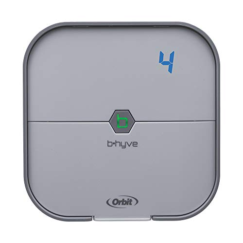 Orbit B-hyve 57915 Smart 4-Station WiFi Sprinkler System Controller, 4-Zone, Gray
