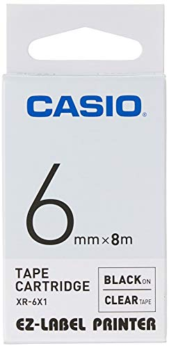 Casio EZ Label Printer XR-6X1, self-Adhesive Scroll, 6 mm x 8m, Black on Transparent