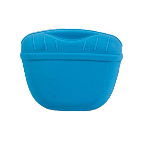Silicone Dog Treat Pouch-Small Training Bag-Portable Dog Treat Bag for Leash with Magnetic Closure and Waist Clip-for Homemade Treats-BPA Free (Blue)