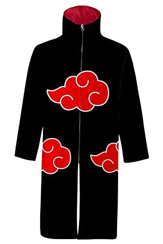 Enhopty Unisex Hokage Akatsuki The red Clouds Kimono Stehkragen Mantel mit Reißverschluss Regenmantel Kap Jacke Halloween Karneval Umhang Cosplay Kostüm Schwarz L