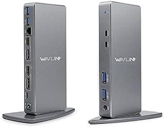 WAVLINK USB3.0ドッキングステーション 縦置き Windows および Mac 用 - デュアルモニター HDMI DVI ポート ギガビット イーサネット(4xUSB3.0、2xUSB-C、1xLAN、2xHDMI&DP、オーディ...