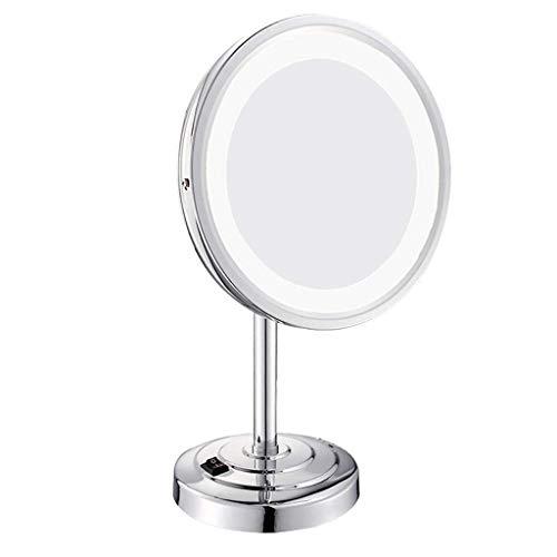 ROSG Espejos de tocador de encimera LED 8 Pulgadas Espejo de tocador de Maquillaje Iluminado 360 & deg;Rotación 3X de Aumento con un Pedestal Antideslizante Versión de actualización Espejo de ma