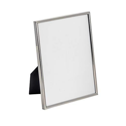 Marco para fotos de 15 x 21 (A5) - Metal con protección de cristal - Para mesa - Plateado